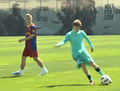 Justin with Barcelona football players
