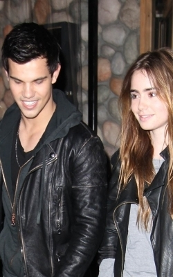 Leaving Sushi Dinner with Lilly Collins, April 7, 2011