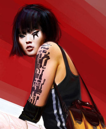 Mirror's Edge wallpaper probably containing hosiery, tights, and a hip boot called Mirror's Edge