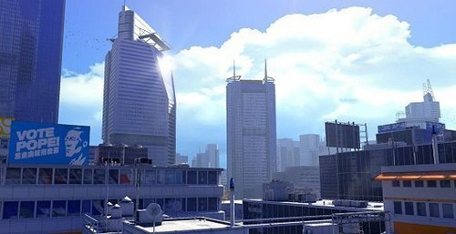 Mirror's Edge wallpaper with a business district and a skyscraper entitled Mirror's Edge