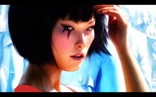Mirror's Edge wallpaper possibly with a television receiver and a portrait titled Mirror's Edge