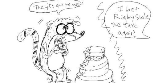 Rigby Eating Cake