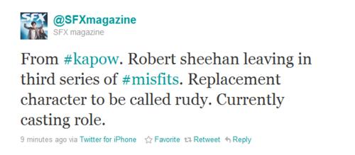 Robert Sheehan (Nathan Young) no longer on Misfits.
