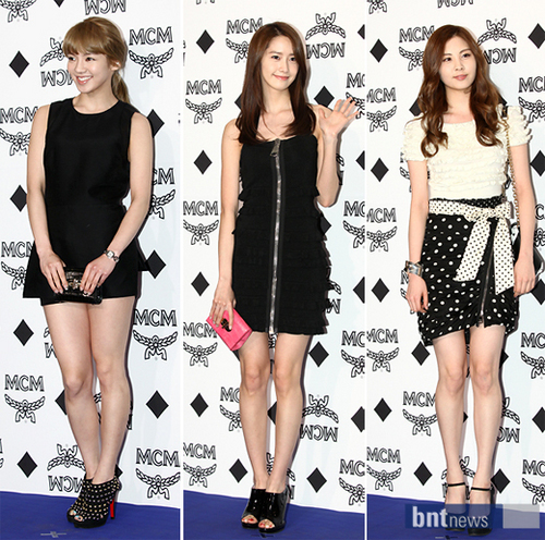 SNSD's Yoona, Seohyun, and Hyoyeon at the MCM Spring 2011 Fashion Show.