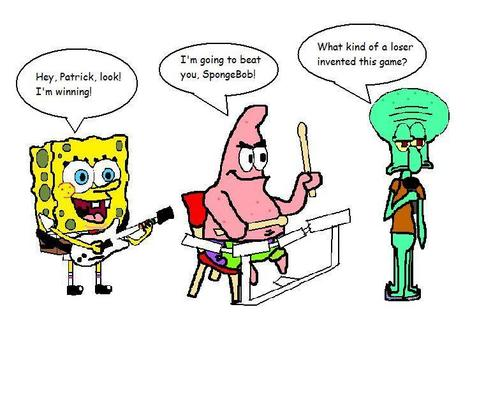 SpongeBob and friends play Rock Band