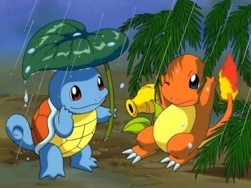 Pokémon wolpeyper probably with anime titled Squirtle & Charmander