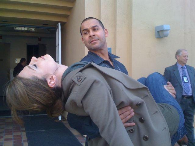 Stana and Jon on Set