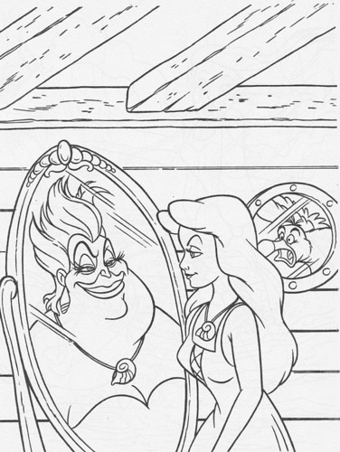Walt Дисней Coloring Pages - Ursula, Vanessa & Scuttle