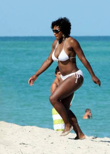 serena white bikini