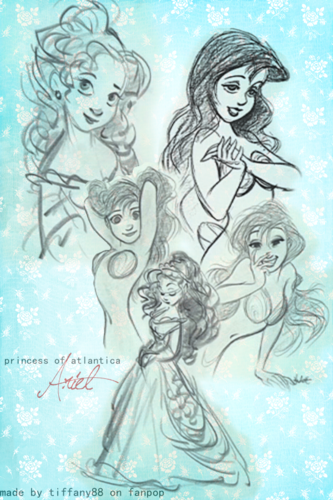 Princesses Disney fond d'écran containing animé entitled Ariel - Concept art
