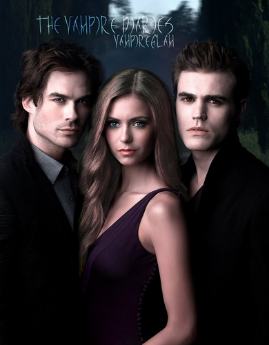 Damon,Stefan,Elena who is looking awesome with the illusion of brown/blond hair!