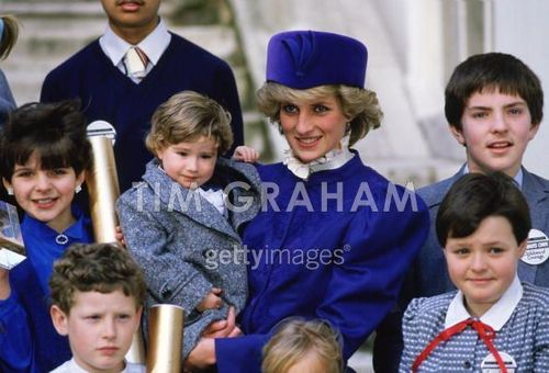 Diana meets children