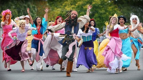 Disney women chasing Jack Sparrow