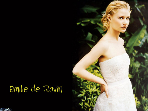 Emilie de Ravin wallpaper containing a bridesmaid, a gown, and a dinner dress entitled Emilie de Ravin