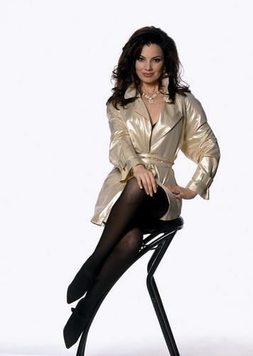 Fran Drescher Hintergrund containing bare legs, hosiery, and a hip boot titled Fran Drescher