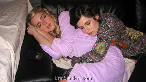 Katelyn Tarver and Erin Sanders sleep