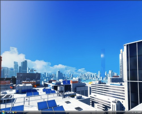 Mirror's Edge wallpaper with a business district titled Mirror's Edge
