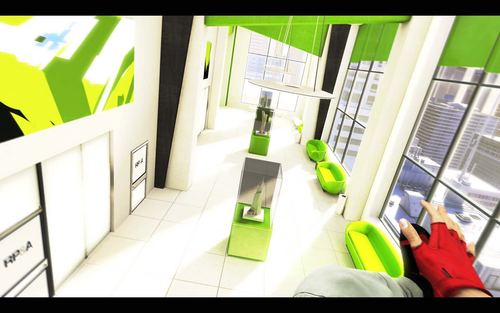 Mirror's Edge hình nền possibly with a living room, a washroom, and a window ghế, chỗ ngồi entitled Mirror's Edge