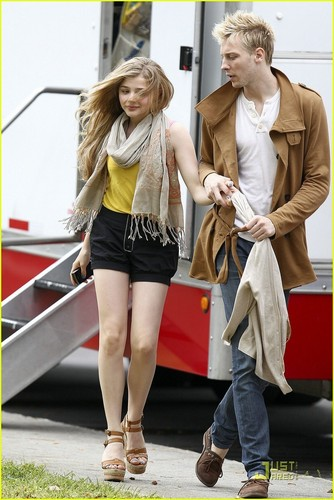 "Chloe Moretz kertas dinding possibly containing bare legs, a hip boot, and a pakaian bermain, playsuit titled On the set of ""Hick"" (April 4th, 2011)"
