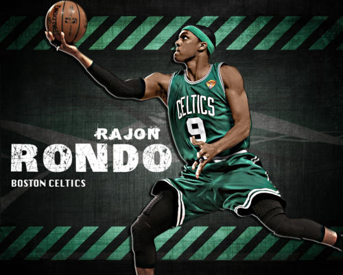 Rajon Rondo Hintergrund containing a basketball player, a dribbler, and a basketball called Rondo