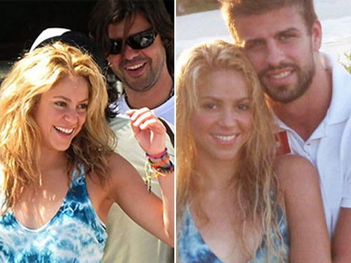 shakira in the same camisa, camiseta with Antonio and with Piqué!