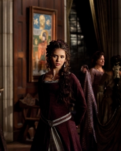 Katherine Pierce and Elena Gilbert wallpaper possibly containing a kirtle and a polonesa, polonês, polonaise entitled 2x19 Klaus