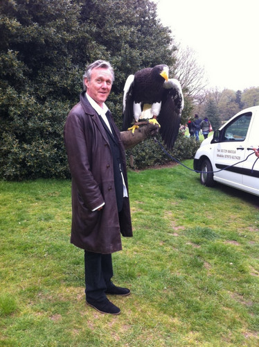 Anthony Head with an eagle @ Merlin Dragon Tower