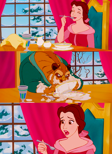 Belle and Beast eating