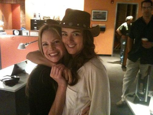 Cote and Sarah Jane on set