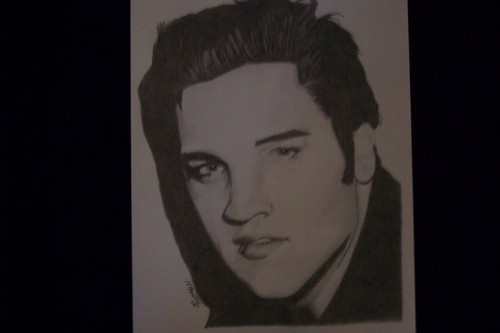 "Elvis Presley hand rendered graphite portrait for sale 9"" x 12"" stock"