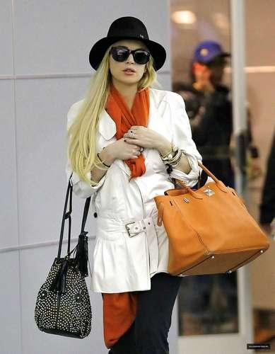 Lindsay Lohan Arriving at JFK Airport