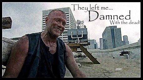 Walking Dead fond d'écran possibly containing a sign, a street, and a business district titled Merle Dixon: Damned