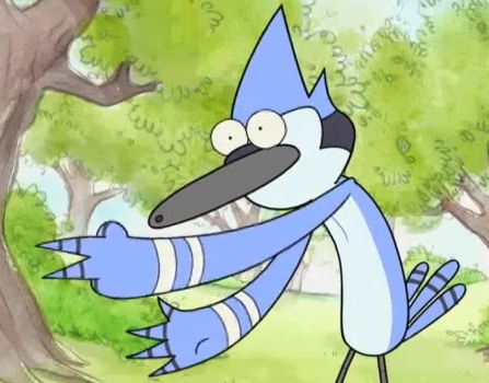 Mordecai playing rock paper scissors