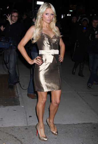 Paris Hilton And Cy Waits At The 'Late onyesha With David Letterman'