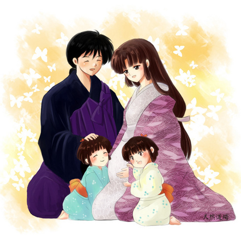 Inuyasha.:The Final Act:. fondo de pantalla probably containing an outerwear and a portrait called Sango&Miroku - Family