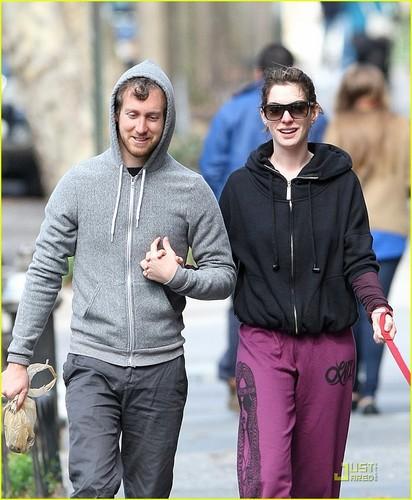 Anne Hathaway & Adam Shulman: Dog Walking Couple