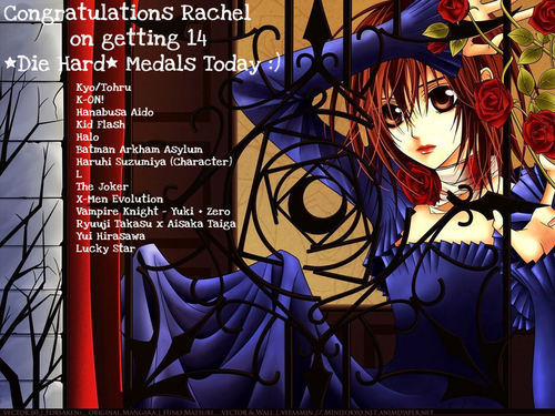 Congratulations on getting 14 Die Hard médailles Today Rachel :)