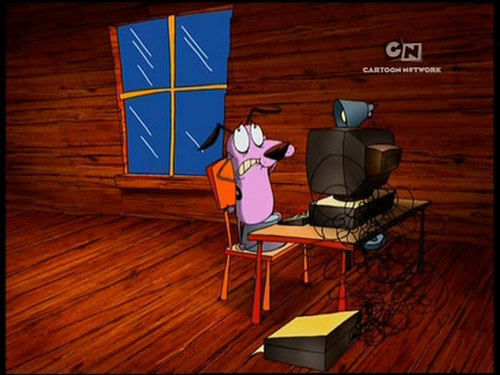 Courage the Cowardly Dog Обои with a living room, a family room, and a стол письменный, стол called Courage the Cowardly Dog