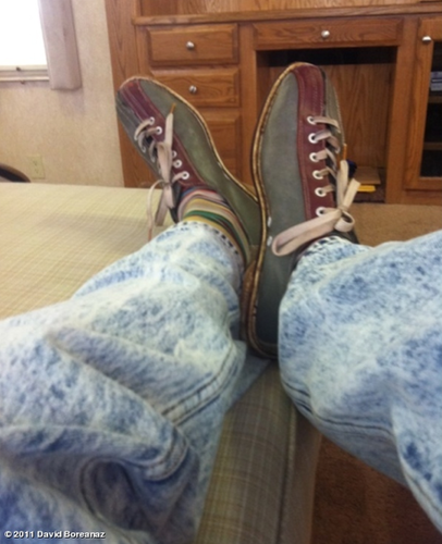 """DB TWEETS: """"Acid washed jeans...what is going on!? Booth is off to some undercover work"""""""