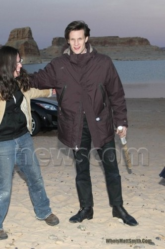Matt Smith achtergrond possibly containing a werkkleding and an outerwear entitled Doctor Who Series 6 filming in Utah