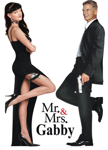 Abby and Gibbs achtergrond with a business suit and a well dressed person titled Mr & Mrs Gabby