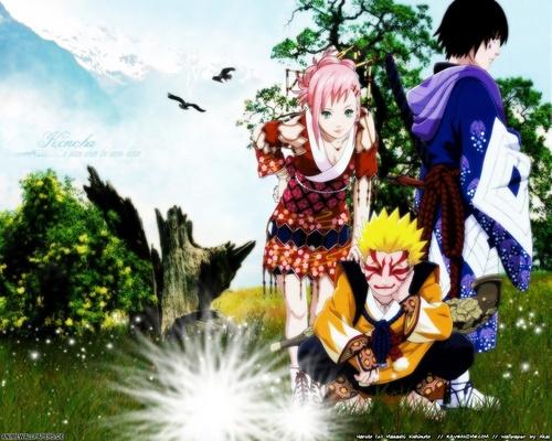 Naruto Shippuuden wallpaper possibly containing anime called Naruto + Sakura + Sasuke