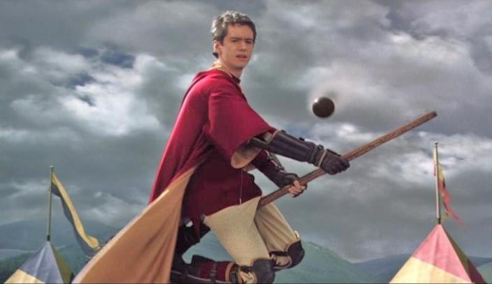 Oliver playing Quidditch