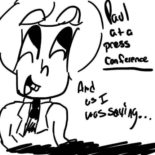 Paul at a press conference