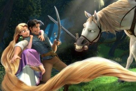 Rapunzel & Flynn with his horse, Maximus