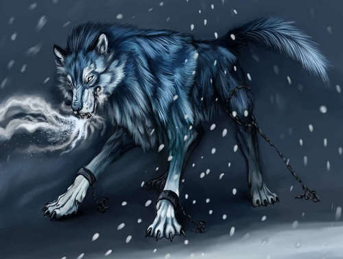 Wolfiey using ice breathing to get out of jail in hell he is the ruler on the cold part of the under