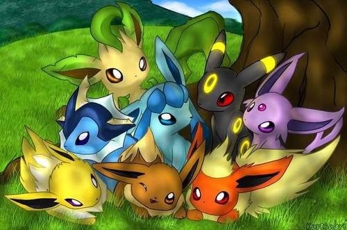 Eevee hình nền possibly with anime entitled eeveelutions