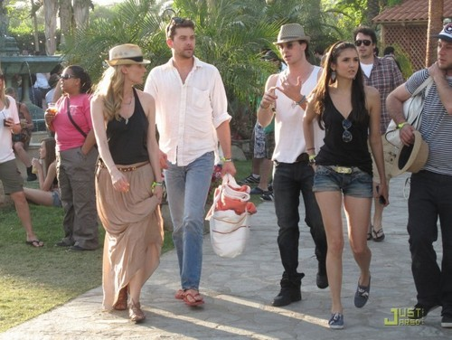 Damon&Elena and Ian&Nina hình nền probably containing a business suit entitled nina+ian at the 2011 Coachella