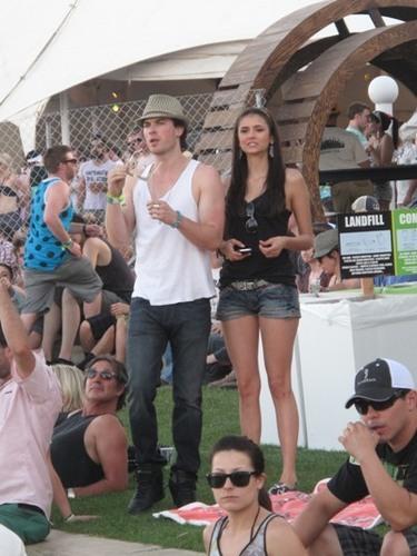 Damon&Elena and Ian&Nina achtergrond possibly with sunglasses entitled nina+ian at the 2011 Coachella