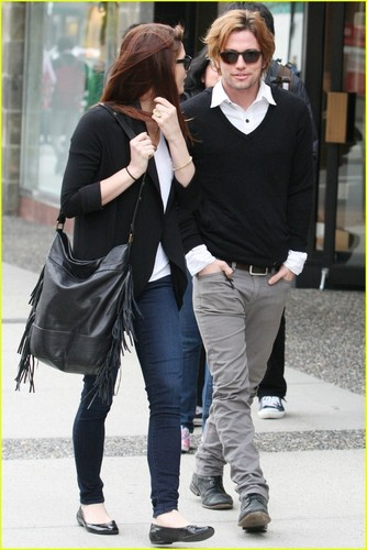 Jackson Rathbone wallpaper containing a business suit entitled Ashley Greene and Jackson Rathbone in Vancouver(April 20)